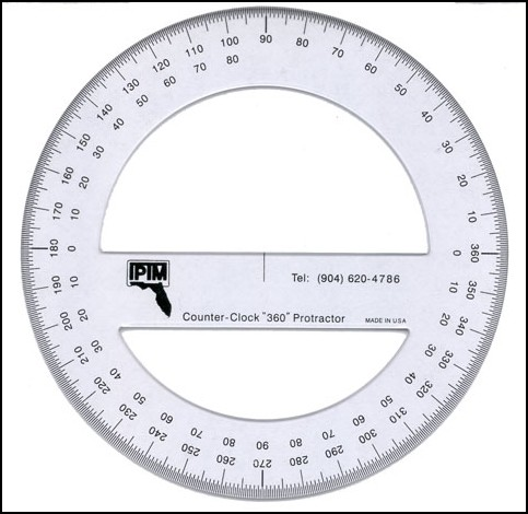 Iptm 360 degree counter clockwise protractor templates for Iptm traffic template
