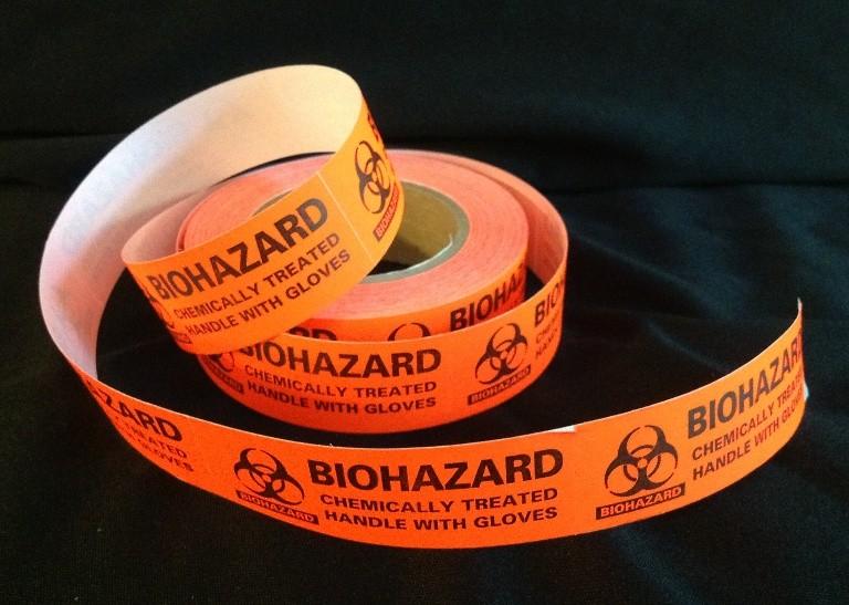 Biohazard Labels, Handles with Gloves