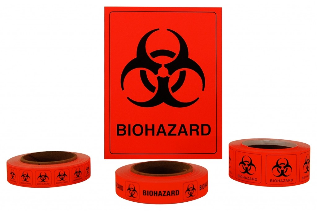 "Biohazard Labels, 1""x1"""