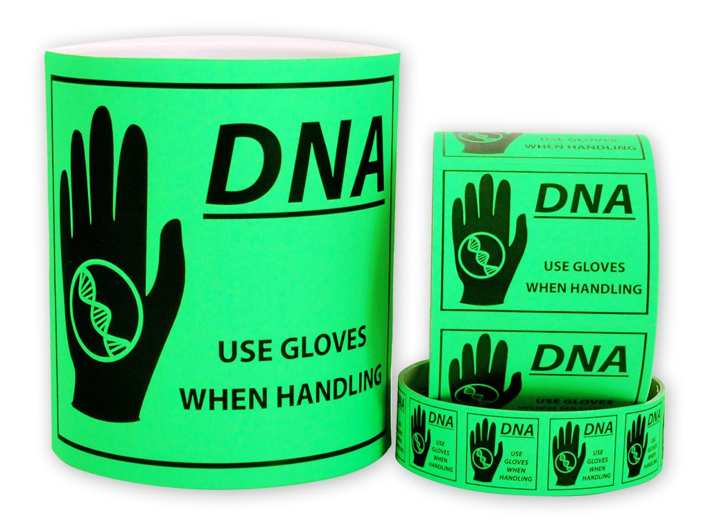 "DNA Caution Labels - Medium (2.625"" x 2"")"