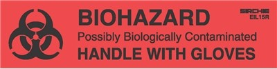 "BIOHAZARD-HANDLE WITH GLOVES Labels, 1"" x 4"""