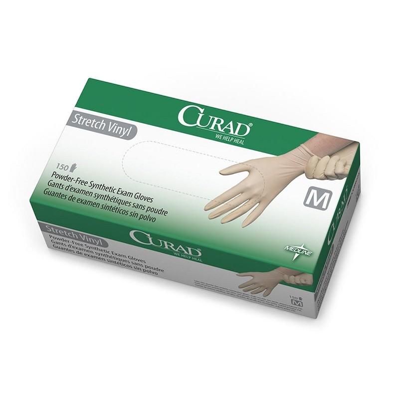 CURAD Stretch Vinyl Exam Gloves, Medium