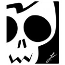 Mousepad, Black & White Skull