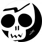 Rubber Coaster, Black & White Skull